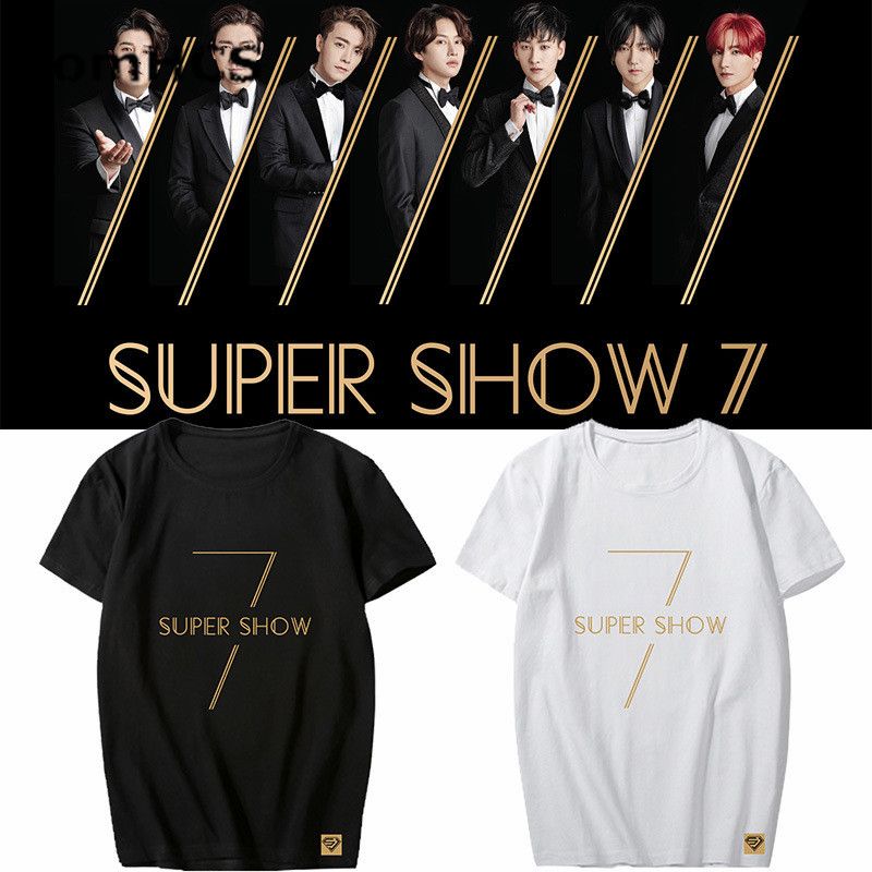 US $12 98 |BomHCS Kpop SUPER JUNIOR Concert WORLD TOUR SUPER SHOW7 Cotton T  shirt Boys Girls Summer Tee Shirt Tops 18F 616SUPER JUNIOR2-in T-Shirts