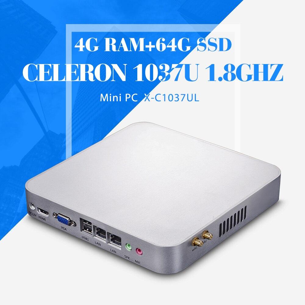 Fanless Design Mini PC C1037U 4G RAM 64g SSD with wifi Terminal Desktop Computer Thin Client