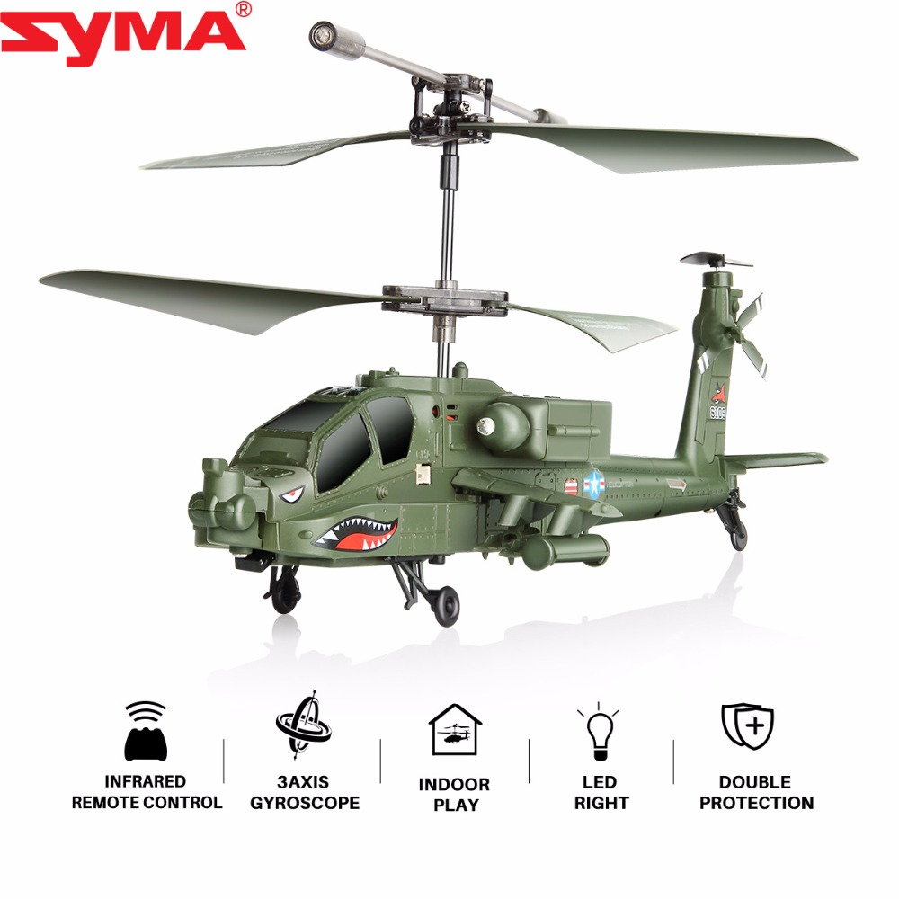Hot Sale 100% Original SYMA S109G 3CH Beast Remote Control Toys RC Helicopter AH 64 Military Model RTF Flying Boys Toy