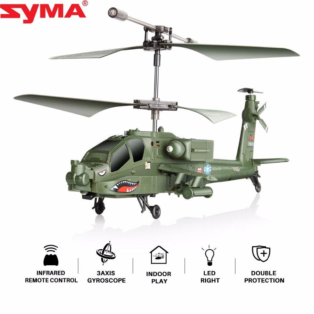 Offre Spéciale 100% D'origine SYMA S109G 3CH Bête Télécommande Jouets RC Hélicoptère AH-64 Militaire Modèle RTF Garçons de Vol jouet