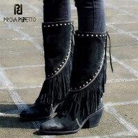Prova Perfetto/черные женские высокие сапоги с бахромой, замшевые сапоги с кисточками на высоком массивном каблуке, высокие сапоги с кисточками и