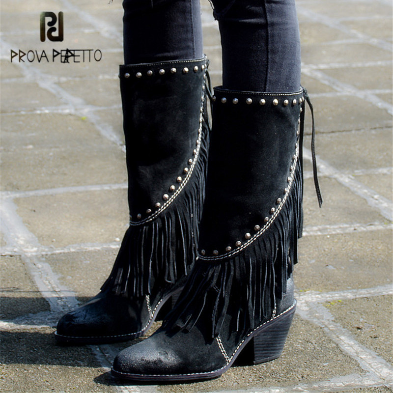 Prova Perfetto Black Fringed Women High Boots Suede Tassels Chunky High Heel Long Boot Tassels Rivets Platform Rubber Botas jady rose brown fringed women chunky high heel boots suede slip on women rivets studded rubber boot platform autumn winter botas