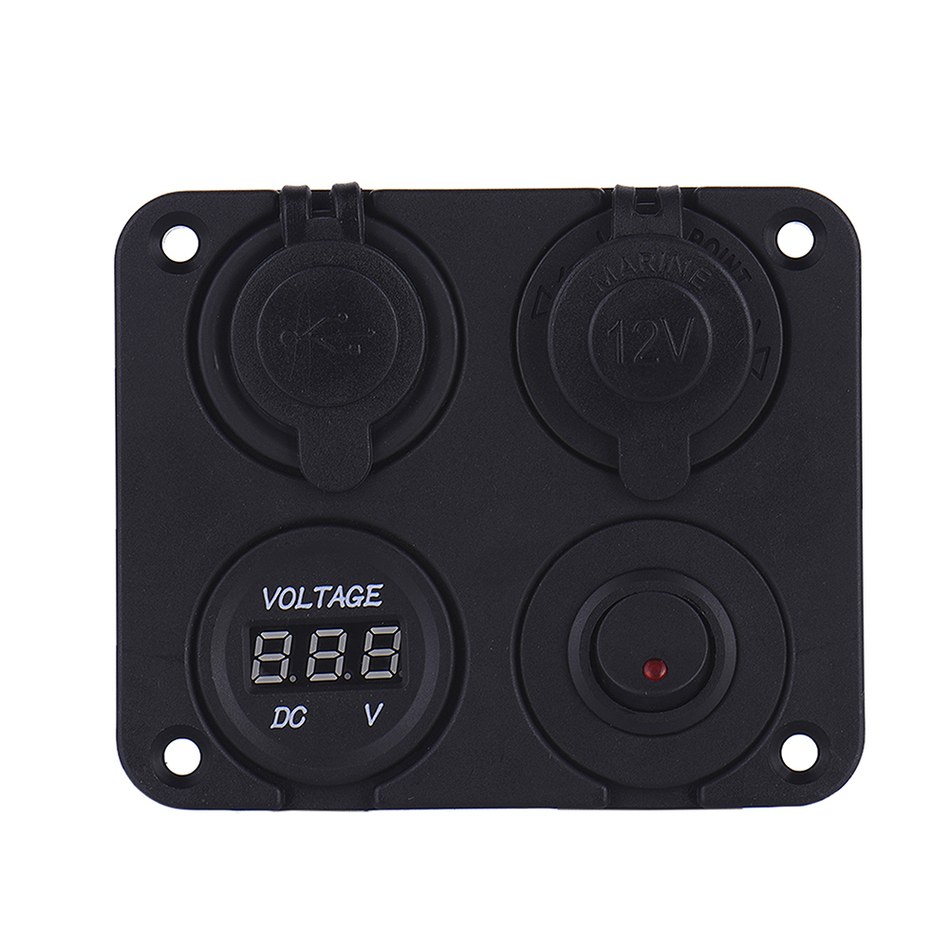 4 In 1 Car 12V Cigarette Lighter Socket 5V 3.1A Dual USB Charger Digital Voltmeter with Switch 3 in 1 multifunctional car digital voltmeter usb car charger led battery dc voltmeter thermometer temperature meter sensor