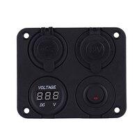 4 In 1 Car 12V Cigarette Lighter Socket 5V 3.1A Dual USB Charger Digital Voltmeter with Switch