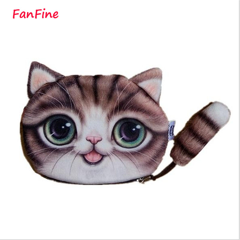 2016 new coin purses wallet ladies 3D printing cats dogs animal big face change fashion cute small zipper bag for women 2015new ladies coin purses wallet 3d printing dog cat animal big face change fashion cute small zipper bag women