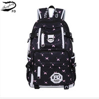 FengDong Waterproof Fabric School Bags For Girls Cute Butterfly Decoration Usb Backpack Laptop Bag 15 6