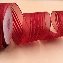 N2123 63 MM X 25 yards Rode satijnen strepen organza lint cadeaupapier kerst bedrade rand lint