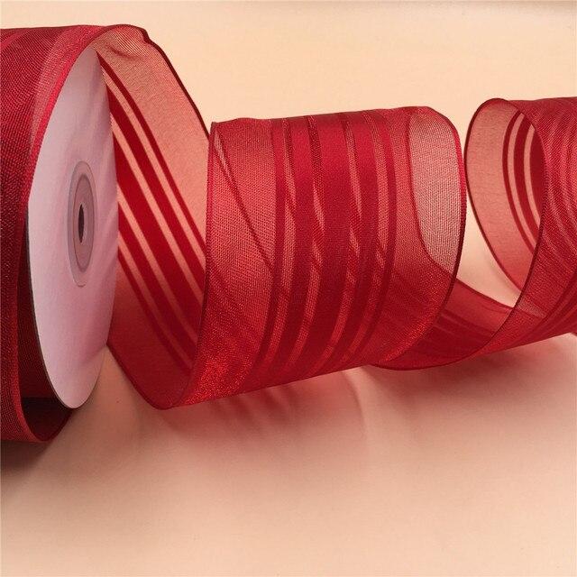 Красная атласная лента в полоску N2123 63 мм X 25 ярдов, подарочная лента из органзы, Рождественская Проводная лента с краями