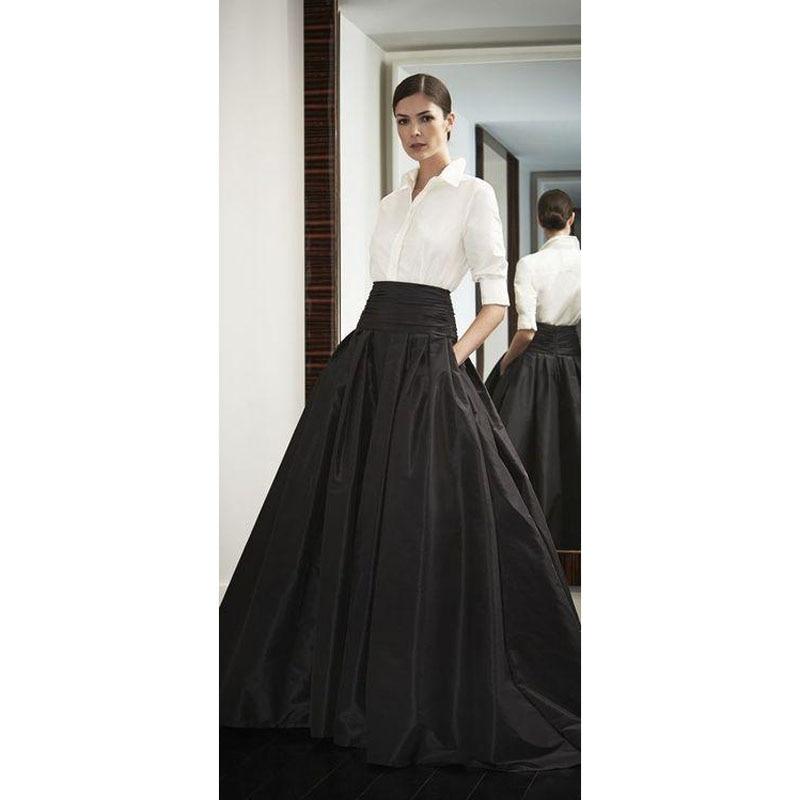 2017 Formal Long Skirt for Office Ladies Black Satin Ball Gown Women ...