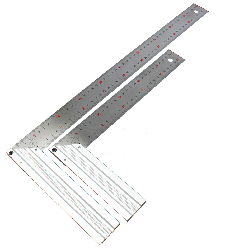 Stainless Steel Try Square Aluminum Grip Right Angle Ruler Woodworking Level & Tool Drawing Ruler 300mm 500mm stainless steel cuticle removal shovel tool silver
