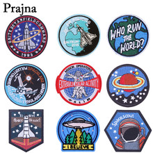 Prajna Universe Space Patch ET Iron On Patches Badge Clothes Embroidery Applique Jackets Fabric Sticker Backpack Decoration E(China)