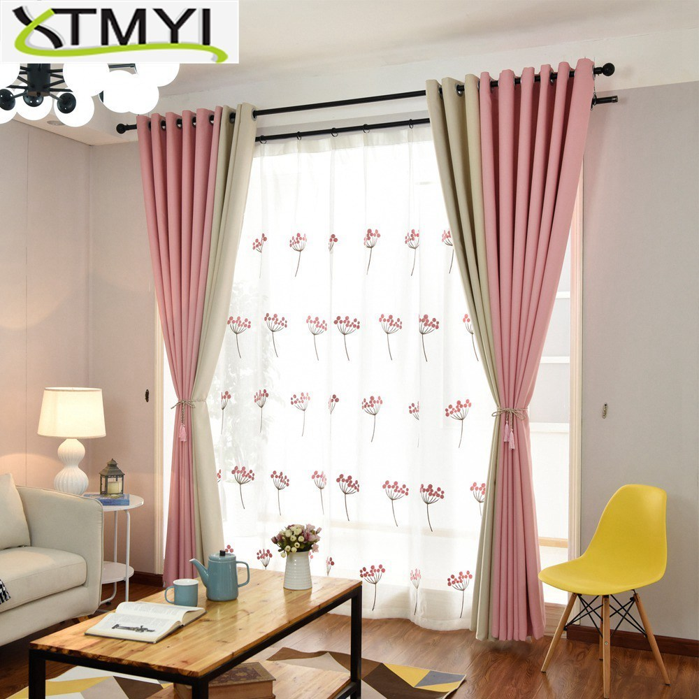 Decorating The Bedroom With Green Blue And Purple: Curtains For Living Room Modern Blackout Pink/green/blue