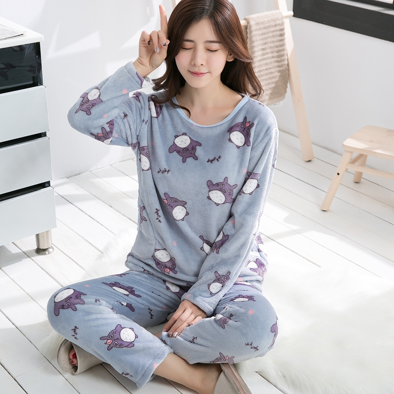 2018 Autumn Winter Flannel   Pajama     Sets   for Women Thick Warm Homewear Long Sleeve Pyjama Girls Cute Cartoon Totoro Sleepwear Suit