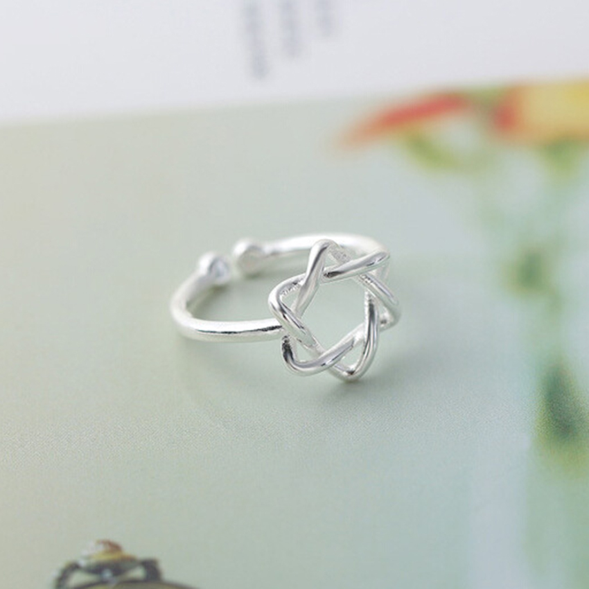Kinitial 1Pcs 925 Silver Dainty Solomon Hexagram Ring for Women Shield Protection Star of David Chanukah Jewish Finger Ring Gift