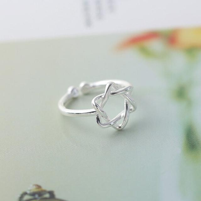 Silver Solomon Hexagram Ring for Women Star of David Jewish Finger Ring