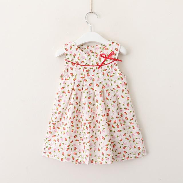 17687547265da Baby Girls Dress 2018 Summer Strawberry Toddler Girl Cartoon Dresses Bow Kids  Boutique Clothes Wholesale Girl Dress A-Line