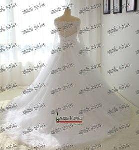 Image 3 - オフショルダースリーブ真珠ベルトウェディングドレス白い色顧客注文2018