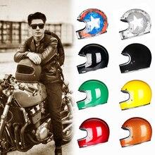 De fibra de vidrio de cara completa casco de la motocicleta clásico, Retro Vintage estilo casco helicóptero Café Racer Crusier… calle bicicleta aprobada por el DOT