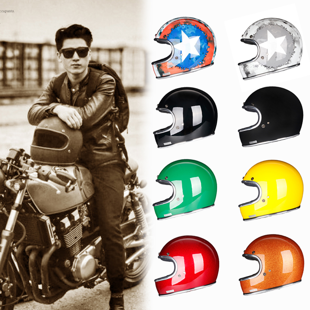 In fibra di vetro Pieno Viso Casco Del Motociclo Retro Classic Vintage Style Casco, Chopper, Cafe Racer, Crusier, moto da strada, DOT approvato