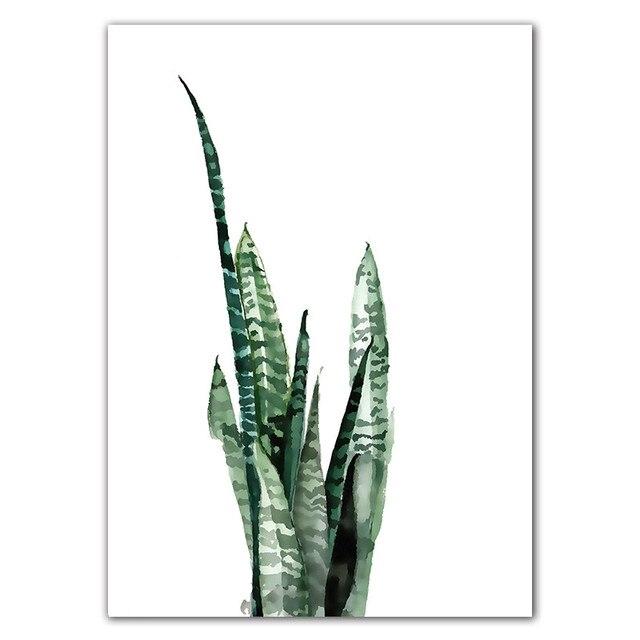 Aquarell Tropische Pflanze blätter Leinwand Kunstdruck Poster, Nordic Grüne Pflanze blatt ländlichen Wand Bilder für Home Dekoration DP0382