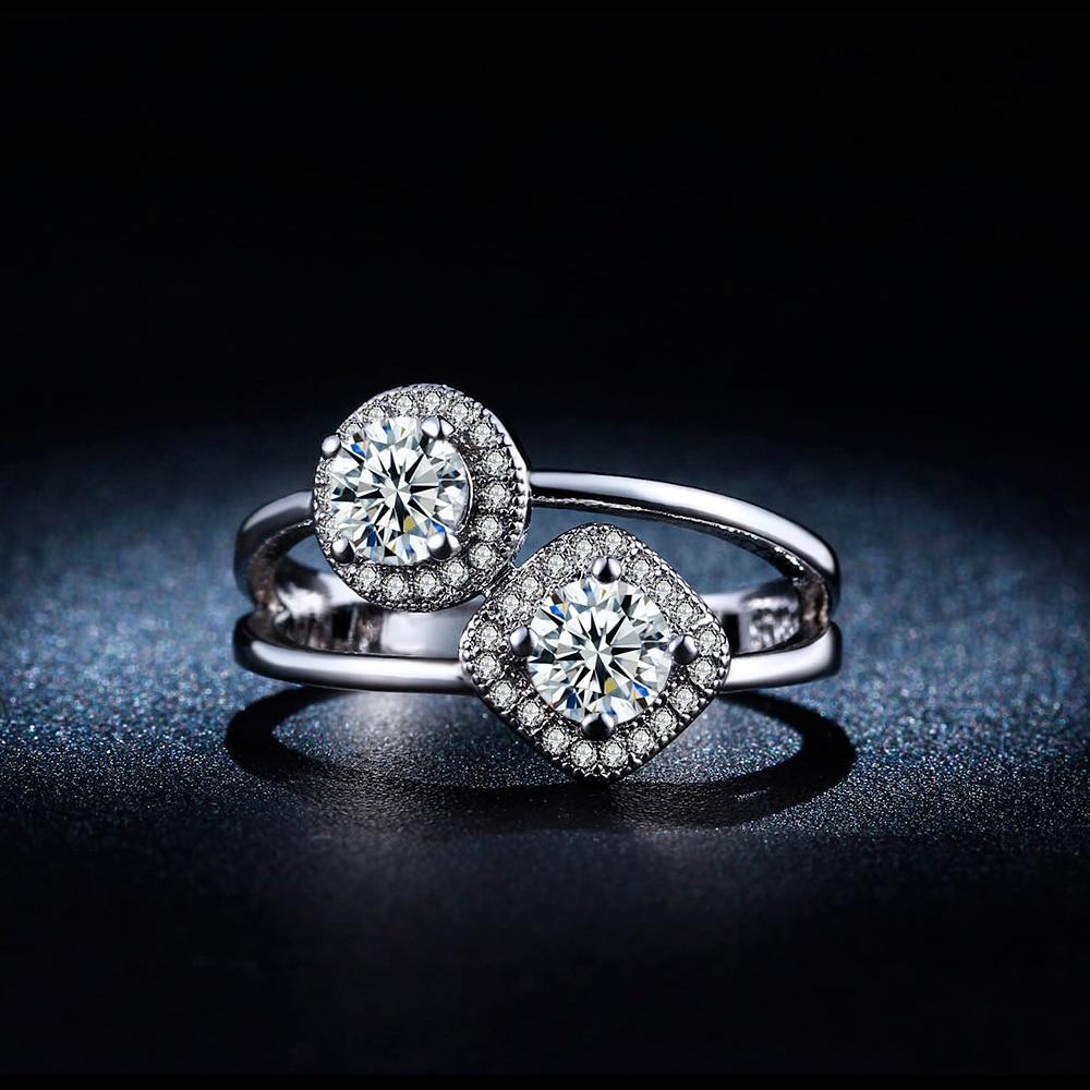 Double Cz Diamond Ring Set Jewel Women White 585 Gold Plated Bague Wedding Engagement  Unique Zirconia