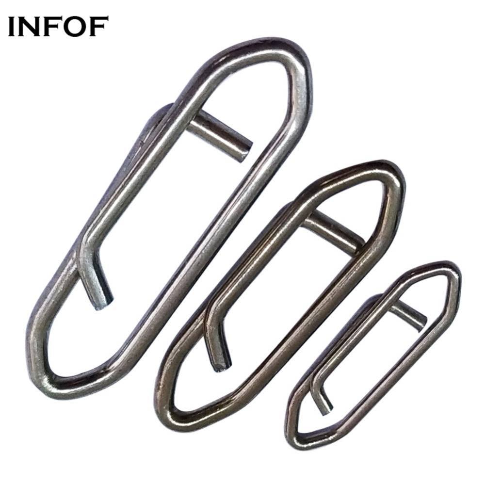 INFOF 200-pieces Swivel Fishing Quick Clip Snap S/M/L Stainless Steel Swivel Hook Fishing Connector Saltwater Terminal Tackle