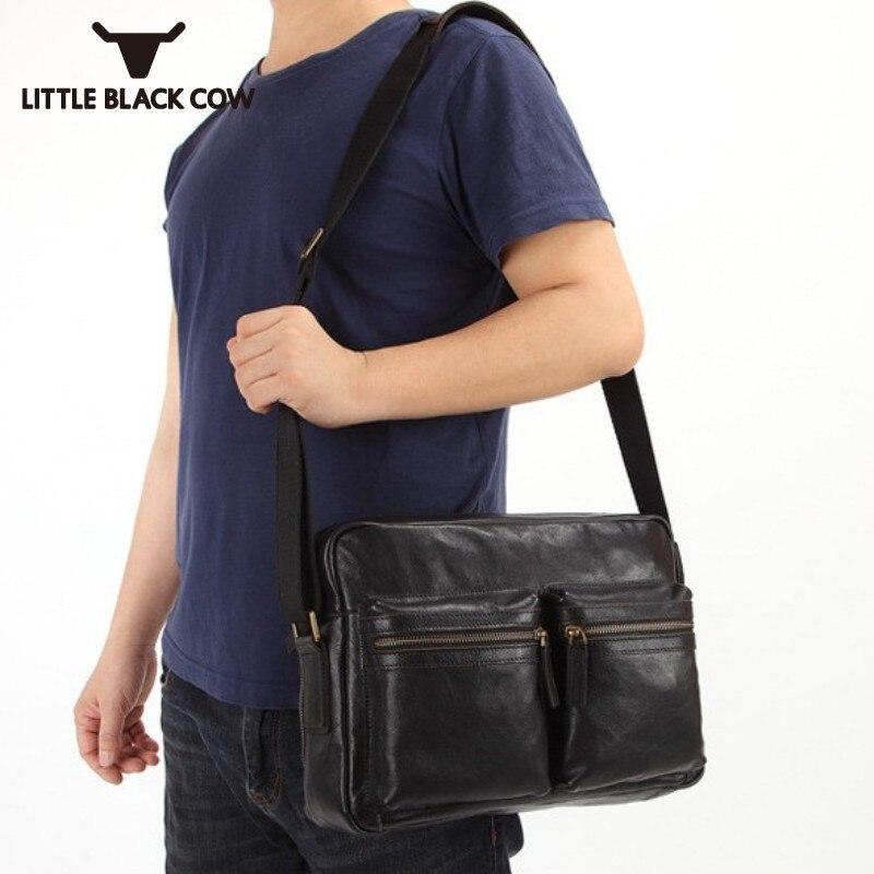 все цены на Designer Brand Luxury Mens Shoulder Bag Fashion Solid Genuine Leather Messenger Bag Male Business Casual Briefcase Travel Bags онлайн