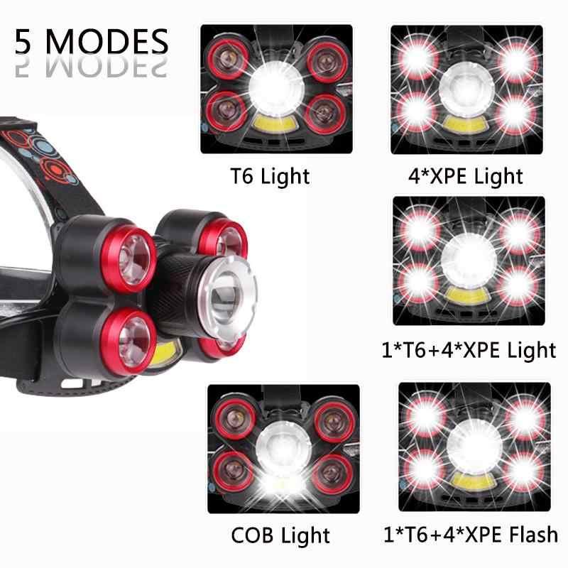 40000 لومينز LED كشافات T6 + COB العلوي 5 وضع رأس مصباح مصباح مصباح يدوي للتخييم + 2*18650 بطارية + AC/DC شاحن + مربع
