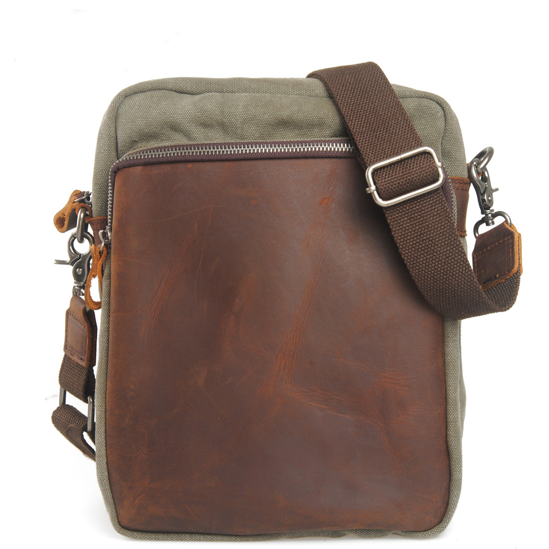 Vintage Canvas Genuine Cowhide Leather Rucksack Messenger Bag School Crossbody Shoulder Bag Briefcase