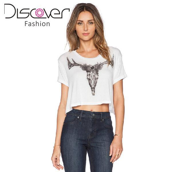 e2325a4bf3b 2015 Animal Black Elk Head Printed Soft Modal T Shirts Summer Style White  Crop Top Loose Baggy Casual Cropped T Shirt Women