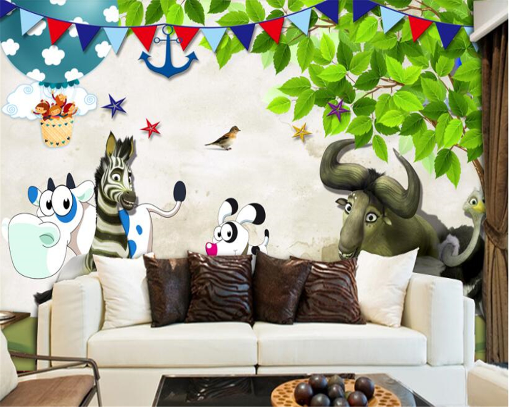 beibehang Senior Fashion Wallpaper Cute Little Animals Happy Aesthetic Cartoon Kids Room Kids Background papel de parede tapety