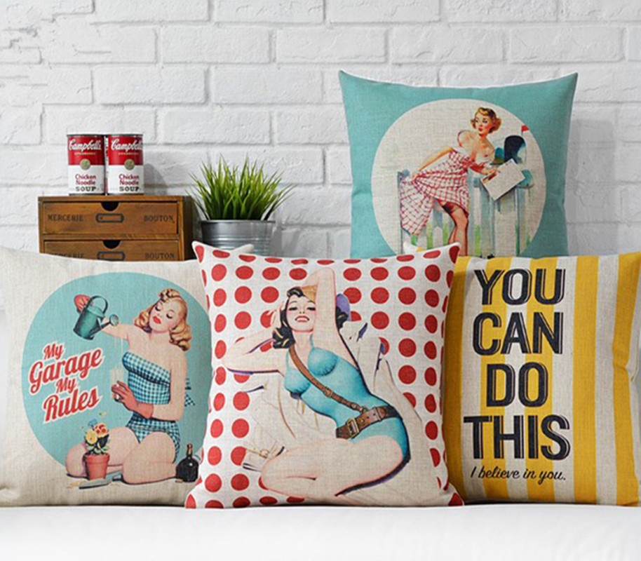 Art And Home Decor Part - 42: Criativo Poster Retro Saudade Pop Art Home Decor Almofada Pillow Cotton  Linen Sexy Girl Almofadas Decorativas