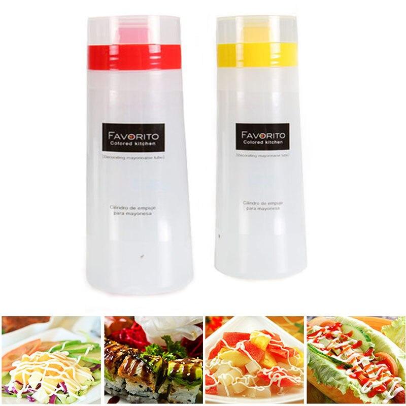 300 мл 4 отверстий силиконовые графинчик бутылки выжать распределитель сыр соусы масла кетчуп выпечки инструменты