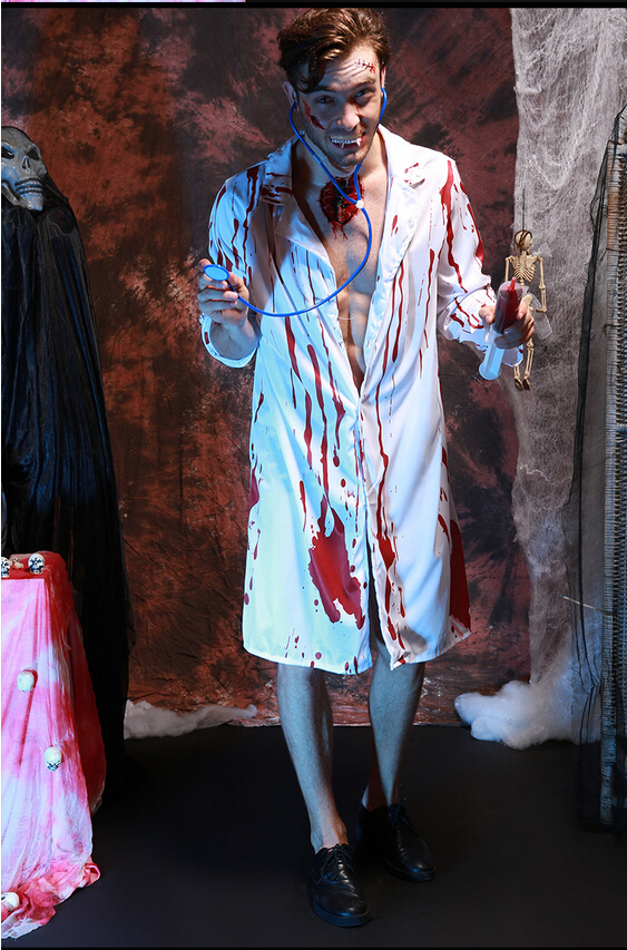 Scary Doctor Cosplay Costume For Men Role Uniform Tops With Stethoscope Bloody Terror Halloween Carnival Costumes
