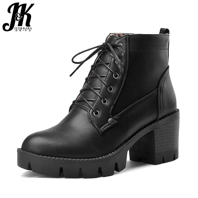 JK Winter Women Ankle Boots Thick Plush Round Toe Lace Up Footwear Pu Female Motorcycle Boots Platform High Heels Shoes Women недорго, оригинальная цена