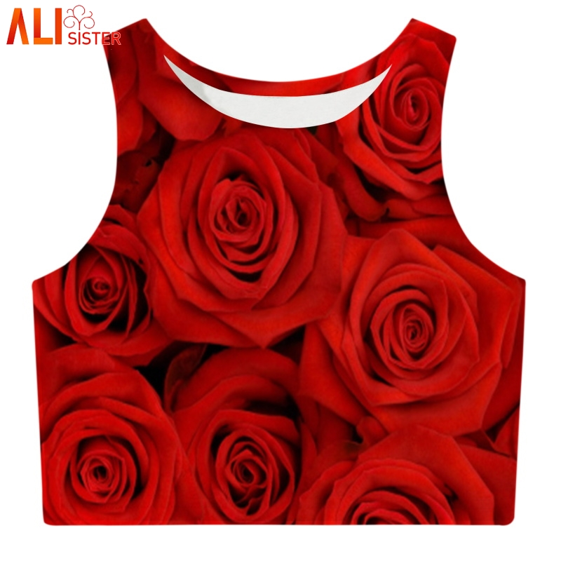 Alisister Floral Print Rose Crop   Top   Women Summer Short   Tank     Top   Femme Cute Girl Short Bustier Fitness Camiseta Tirantes Mujer