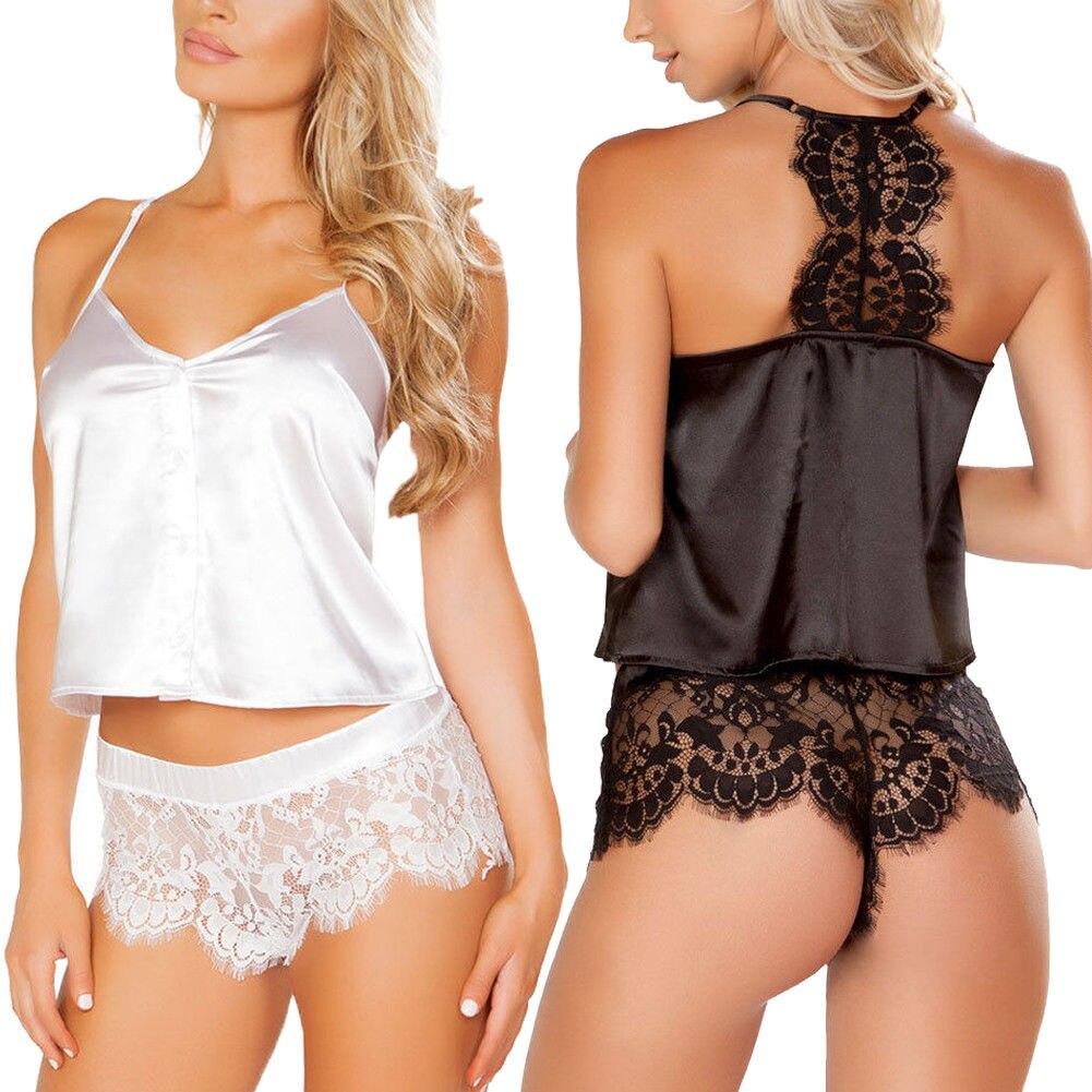 85ca6c029a 2018 2Pcs Women Sexy Satin Lace Sleepwear Babydoll Lingerie Nightdress  Pajamas Set Flower Hot Shorts+Camisole V neck Sleepwears-in Pajama Sets  from ...