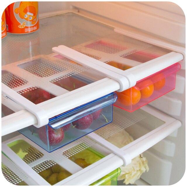 Kitchen Supplies Refrigerator Drawer Organizer Space Saver Home Furnishing  Transparent Plastic Storage Box Desk Drawer Shelf
