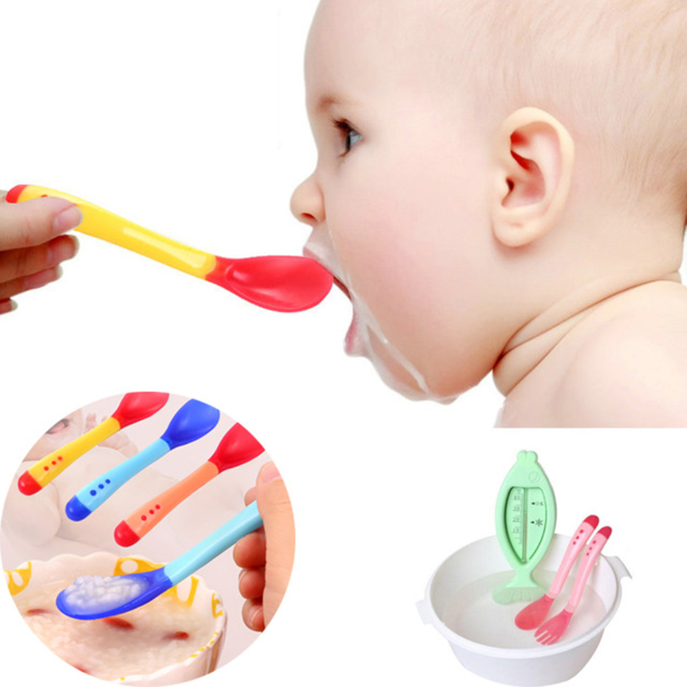 1pcs Baby Spoon Feeder Flatware New Safety Baby Learning Dinnerware Temperature Sensing Baby Feeding Spoon Soft Silicone