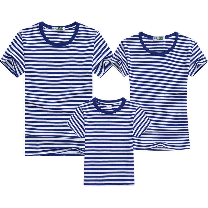 Family Matching T-shirts Striped Tees Summer Clothing Cotton Parent-Child Casual Outfits Family Suits Marine Style Summer Tops