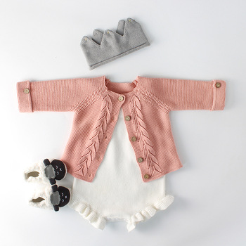 2019 Spring Infant Child Girls Sweaters Baby Girls Cardigan Knit Sweater &wool Romper Kids Cardigan 0-2Y Baby Girl Clothes