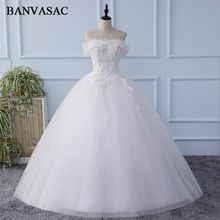 BANVASAC 2018 Real Photos Boat Neck Sequined Embroidery Ball Gown Wedding Dresses Elegant Lace Appliques Bridal