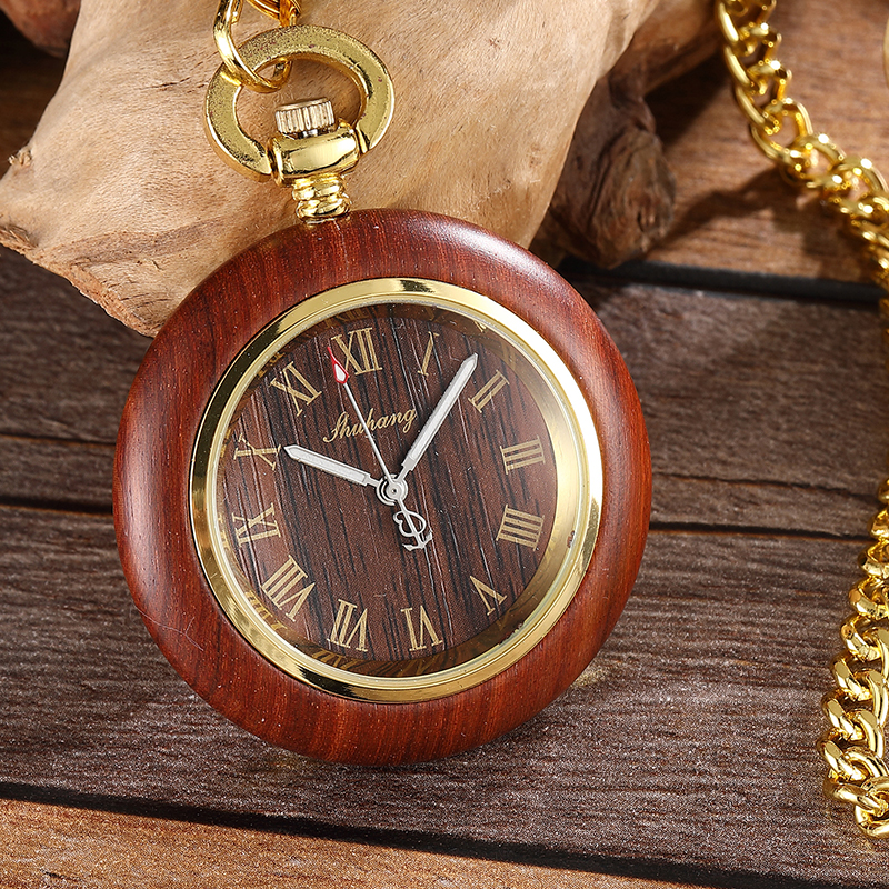 Luxury Vintage Wooden Case Dial Quartz Movement Pocket Watch Antique Roman Number Watch Men Pendant With Chain Gift vintage antique stainless steel quartz pocket watch key shaped pendant watch key chain unisex gift new popular style hot selling