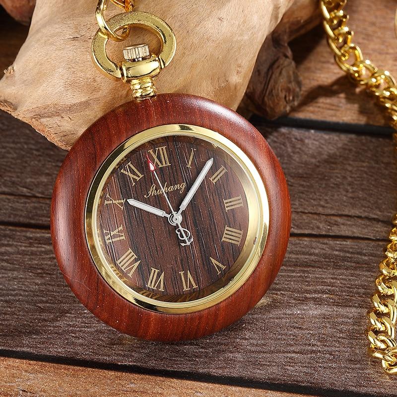 Luxury Vintage Wooden Case Dial Quartz Movement Pocket Watch Antique Roman Number Watch Men Pendant With Chain Gift