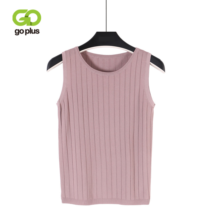 GOPLUS 2018 Summer Sleeveless Sexy Knitted Tank Top Women Fashion O-Neck Elastic Camis Female Vest Casual T-shirt streetwear