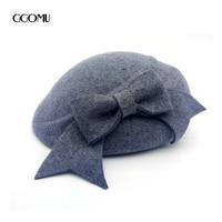 GGOMU Fashion Brand New Winter Bowknot Berets Hat Women Warm Elegant High Quality Soild Color Wool
