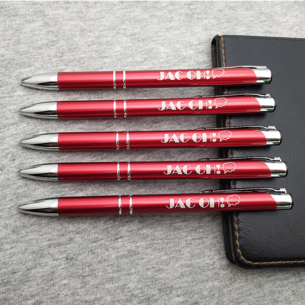 New fashion company logo gift ideas laser engraved metal pens 30pcs a lot customized FREE with your wedding name&date&wish-in Banner Pens from Office & School Supplies