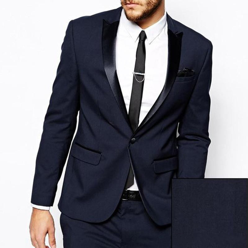 Cheap Two Piece Navy Blue Business Men Suits 2018 Trim Fit Wedding Suits Custom Made Groomsmen Tuxedos (Jacket+Pants)