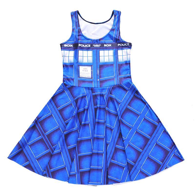 3D New Hot Blue Check Sexy Women Tennis Sports Pleated Dress Vogue Slim Elastic Sleeveless Skater Dresses Party Sports Dress