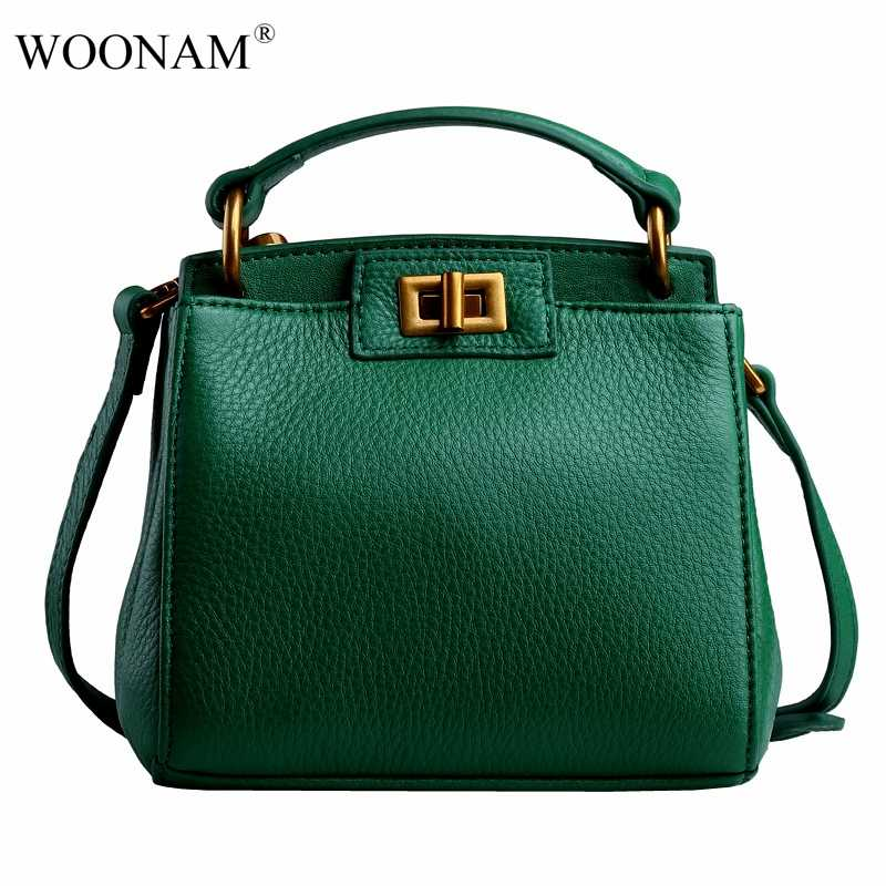 WOONAM Mode Vrouwen Bag Lederen Handtas Top Grain Kalfsleer Schoudertas Mini Tas WB400